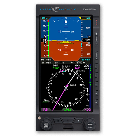 avionics aspen primary flight display efd1000h pilot with slaved dg