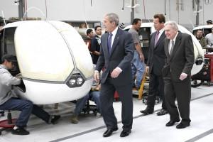 President Bush, Frank Robinson, and Governor Schwarzenegger Along R44 Line