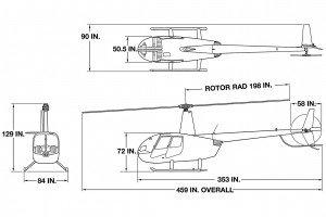 R44 Raven 1 and 2 3-view dwg