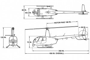 R44 Newscopter 3-View Dwg
