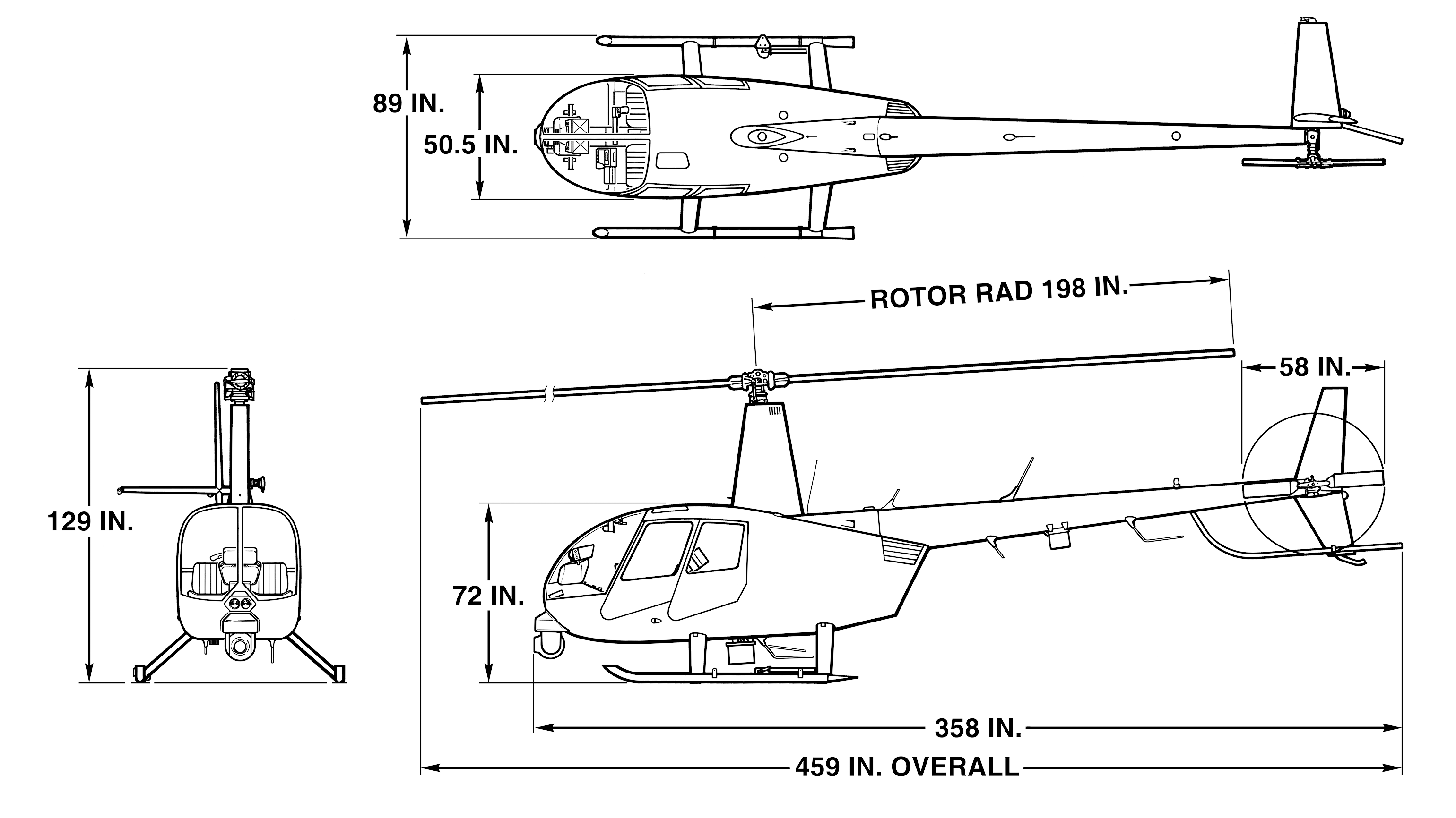 r44 newscopter dimensions