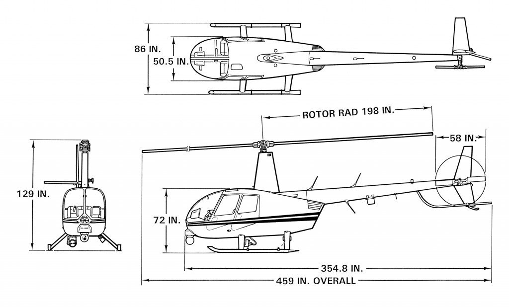r44-police helicopter dimensions