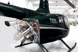 R66 Engine in Green Helicopter