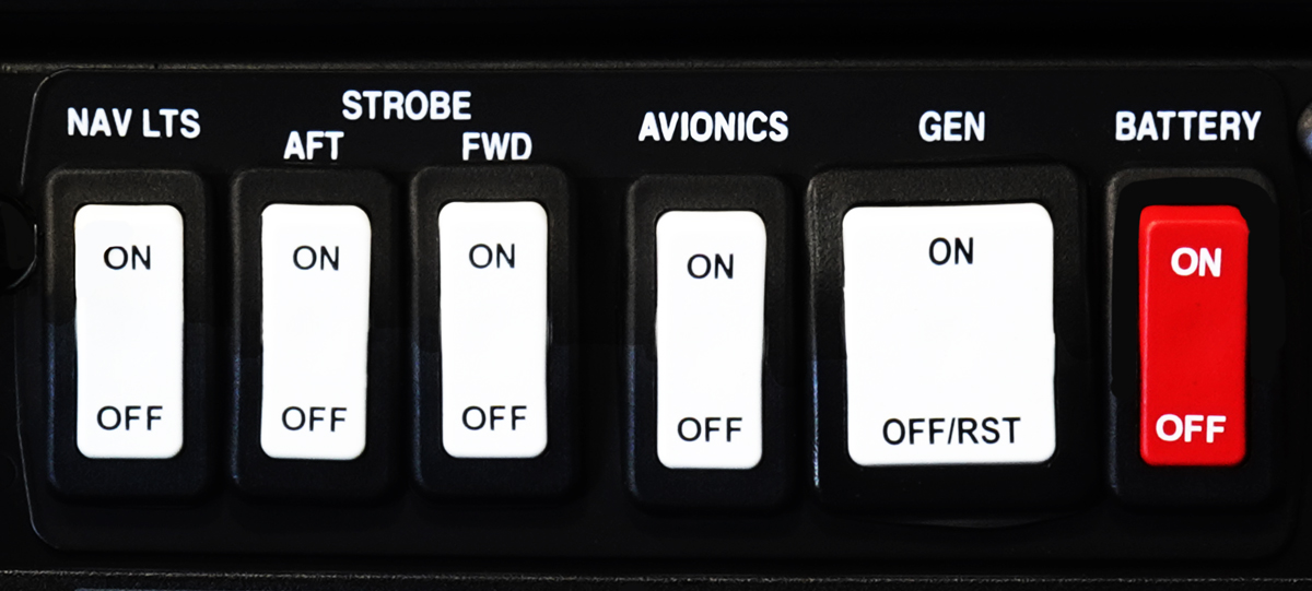 avionics master switch panel on lower stack