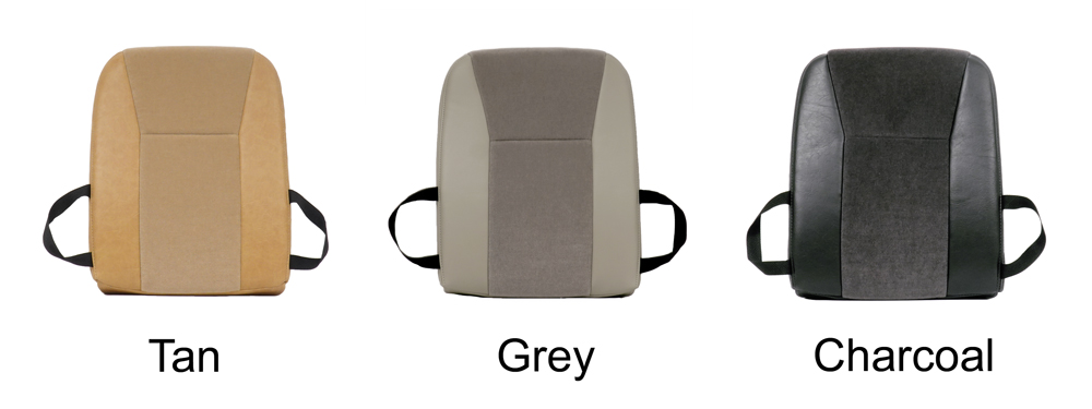 velour back seat booster options in tan grey and charcoal