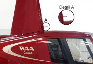 red r44 cadet with heated pitot tube on mast
