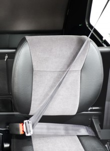 standard 3 point harness seat belt with charcoal velour seat