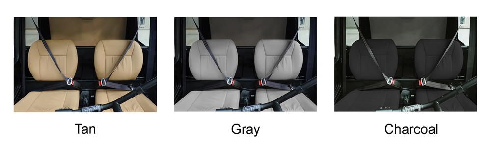 r44 cadet leather seats options in tan gray and charcoal
