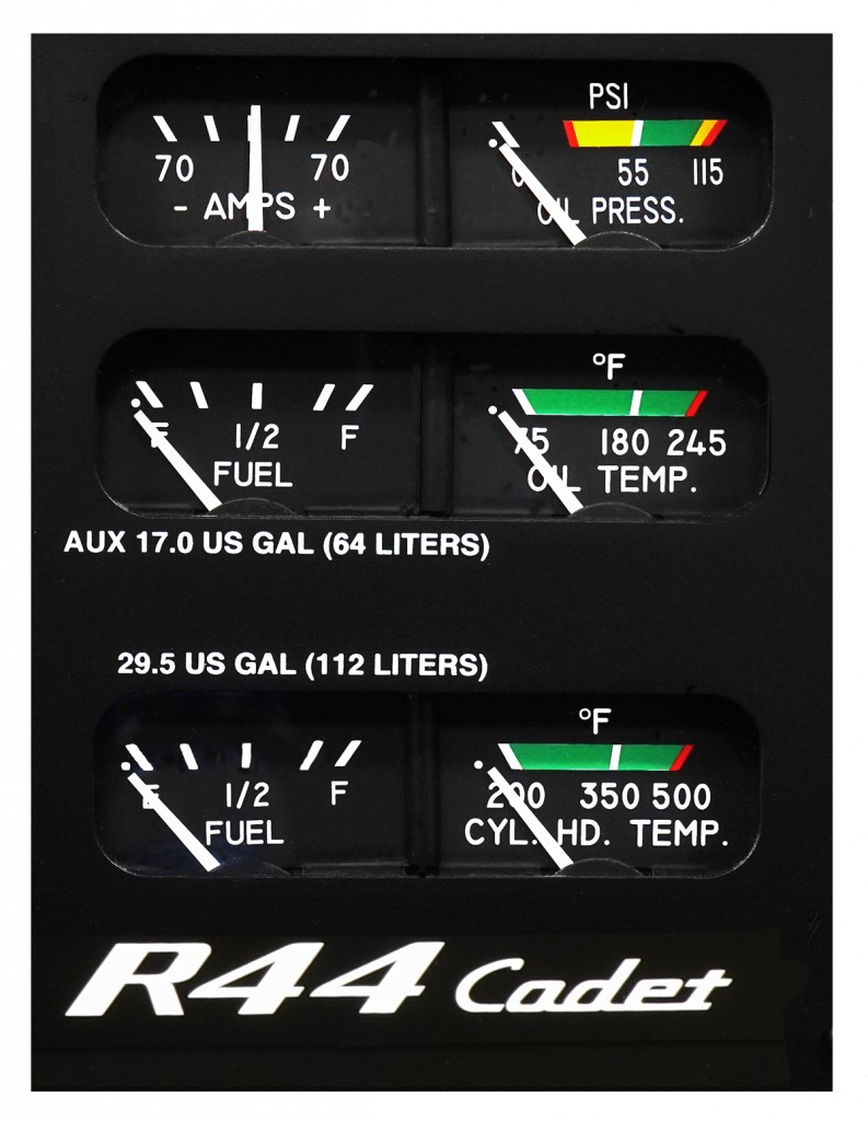 r44 cadet gage panel with ammeter oil pressure and temperature gage cylinder head temperature fuel